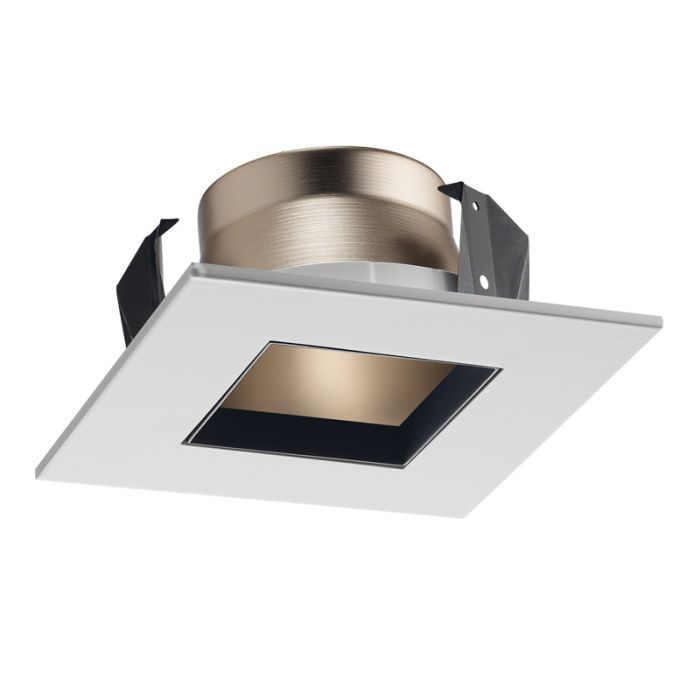 Juno Lighting 17SQ HZWH 4-Inch Square Shower Recessed Trim, Clear Glass with White Trim