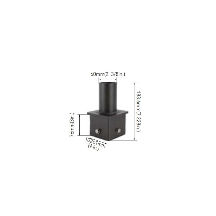 Arcadia Lighting 4SQ-SP-D 4IN Square Pole Mount with 2-3/8IN O.D. Tenon