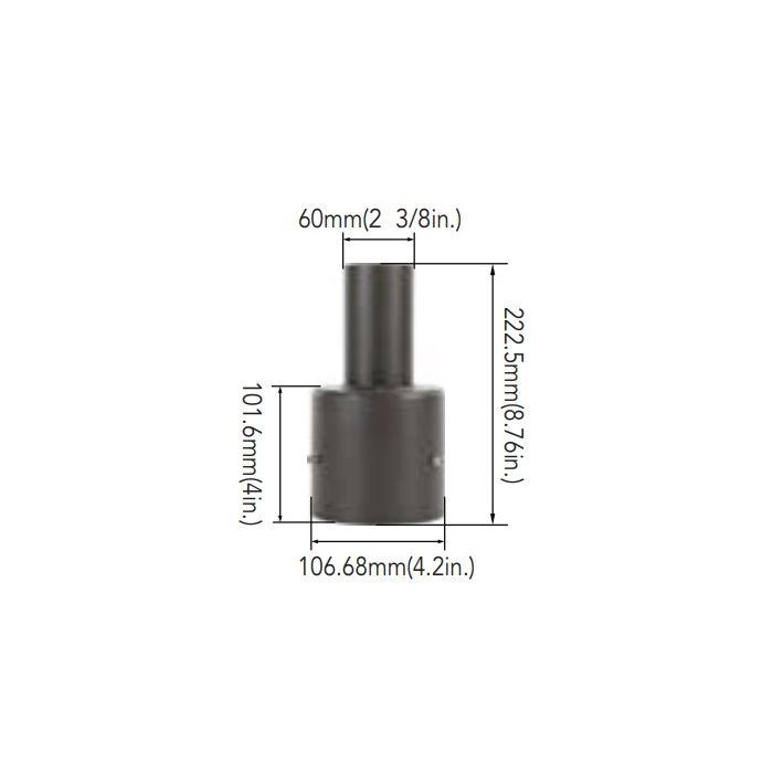 Arcadia Lighting 4SQR-SP-D 4IN Round Pole Mount with 2-3/8IN O.D. Tenon