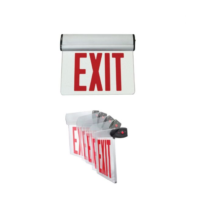 Mule Lighting PVT-1-B Pivotal Battery Backed Edge-Lit Single Face Green or Red LED Exit Sign