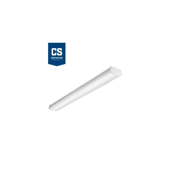 Main Image Lithonia Lighting FMLWL 40 Watt 4 Foot White LED Wraparound Flush Mount Ceiling Light Fixture 120V