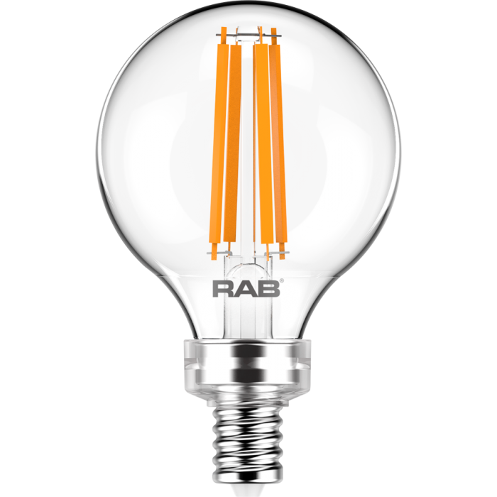 RAB Lighting G16.5-3-E12 3-Watt G16.5 Premium Filament Decorative Lamp 40W Incandescent Equivalent