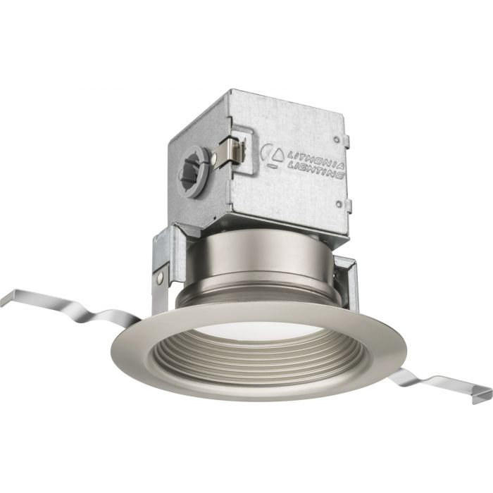 Lithonia Lighting 4JBK RD 30K 90CRI BN M6 4 Inch Brushed Nickel Integrated Direct Wire LED Recessed Downlight Kit - Canless OneUp