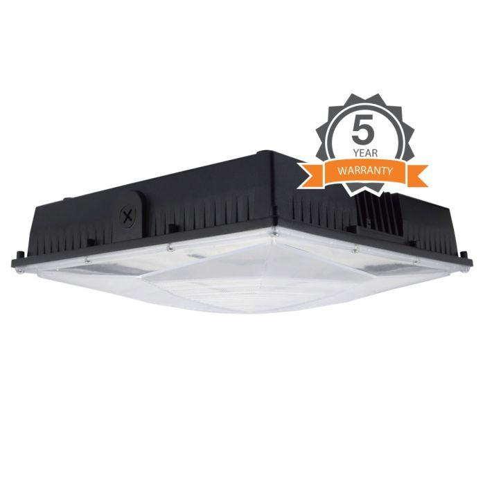 NaturaLED LED-FXSCM60 DLC Premium Listed 60 Watt LED Slim Canopy Light Fixture Dimmable 120-277V
