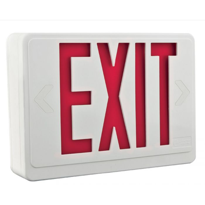 Main Image Lithonia Lighting LHQM-LED-R-HO-R0-M6 Quantum LED White Exit Sign Emergency Combo Unit with Red Stencil and High Output Battery