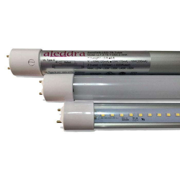 Aleddra LLT-2-T8-10W-DBA-C DLC Qualified 2-Foot G5 T8 Clear LED SureFit DBA Linear Tube Lamp