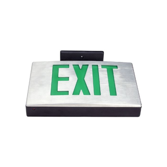 Mule Lighting MD-A-U-G-BA Die-Cast EXIT AC-Only Universal Face Green LED Black with Brushed