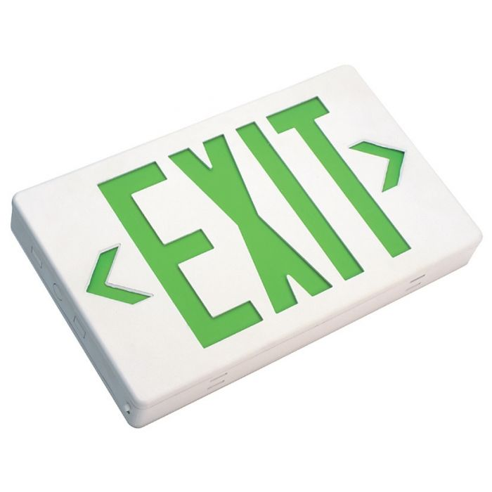 Mule Lighting MXBGU LED Exit Sign Battery Backed Thermoplastic Indoor Damp Location 120/277 Volt Green LED