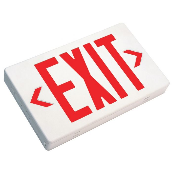 Mule Lighting MXBRU-REM LED Exit Sign Battery Backed with Remote Capability Thermoplastic Indoor Damp Location 120/277 Volt Red LED