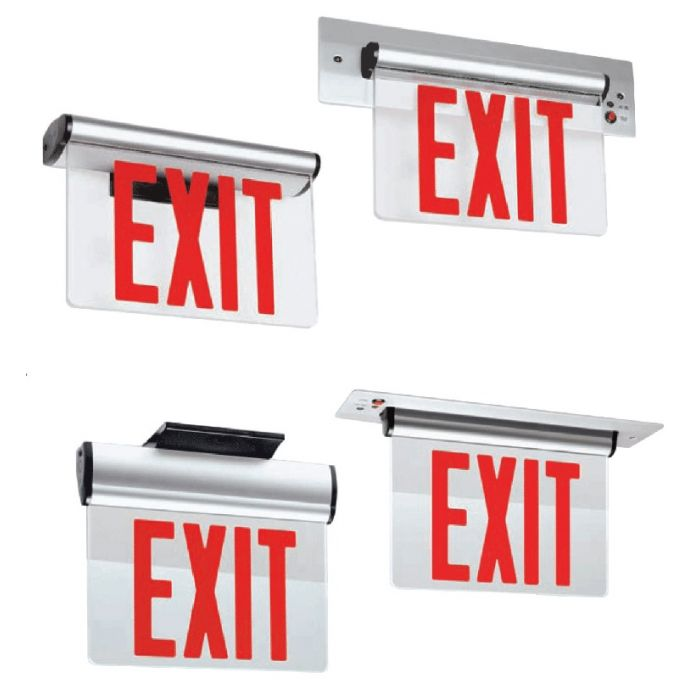 Mule Lighting PVT-1-A-R-U-BA  Pivotal AC only Edge-Lit single face red LED clear panel surface/Brushed Housing