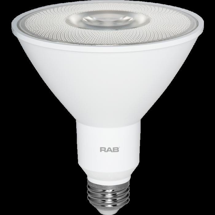 RAB Lighting PAR38-16-9 Energy Star Rated 17 Watt LED PAR38 E26 Lamp 120V 90CRI Dimmable 120W Equivalent