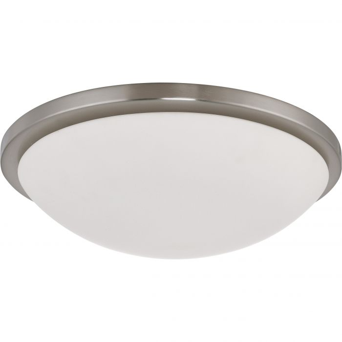 Satco Lighting 62-1044 25 Watt LED Button Flush Mount Dome Light Fixture with Brushed Nickel White Glass Dimmable 3000k
