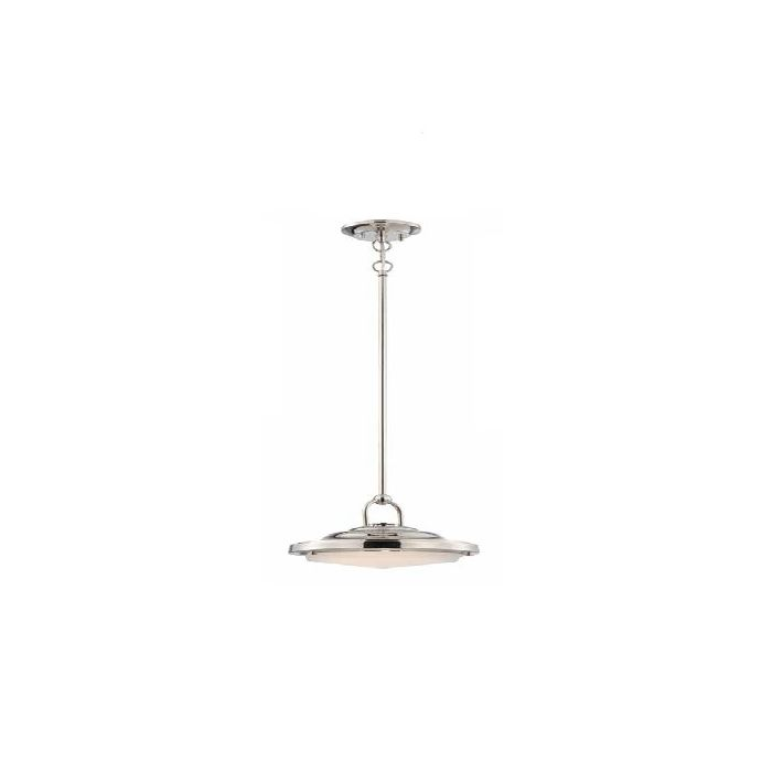 Satco Lighting 62-175 20 Watt Sawyer LED 1 Light Pendant Light Fixture with Frosted Glass Polished Nickel Dimmable 3000k