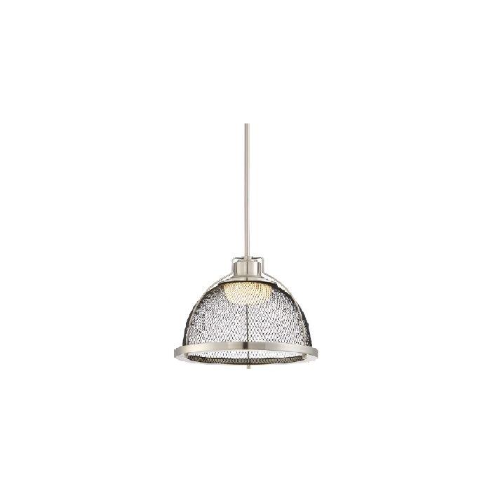 Satco Lighting 62-882 15 Watt Tex Large LED Pendant Light Fixture in Brushed Nickel Black Mesh Dimmable 3000k