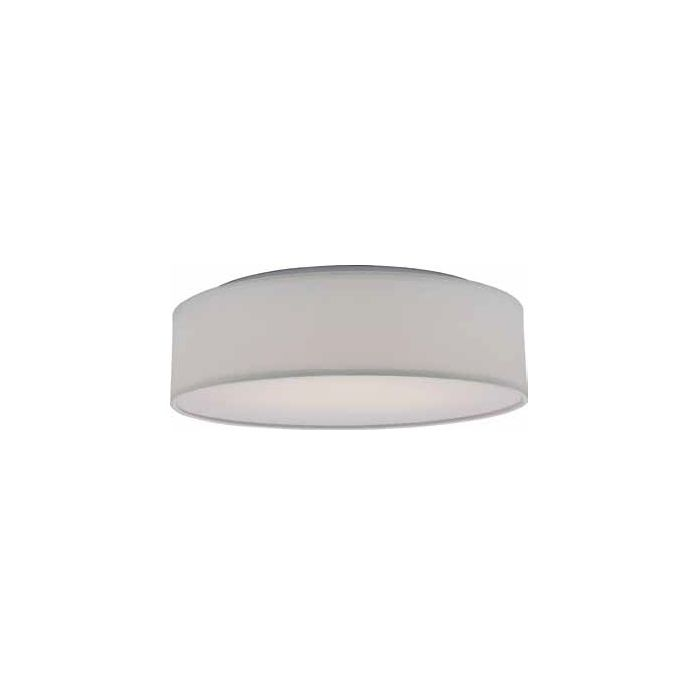 Satco Lighting 62-990 16.5 Watt Decor LED Flush Drum Light Fixture with White Fabric Shade Acrylic Diffuser Dimmable 3000k
