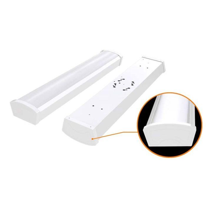 Satco Lighting 65-1082 40 Watt 4 Foot Surface Mount LED Ceiling Wrap Fixture 120-277V White Finish 4000K