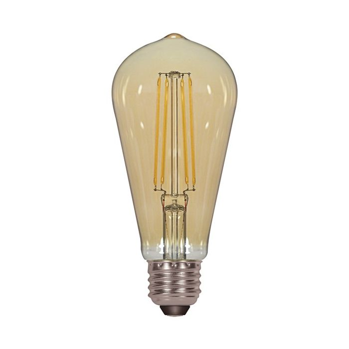 Satco Lighting S8612 4.5 Watt ST19 Omni-directional LED Filament Light Bulb Amber Finish E26 Medium Base Dimmable 2200k