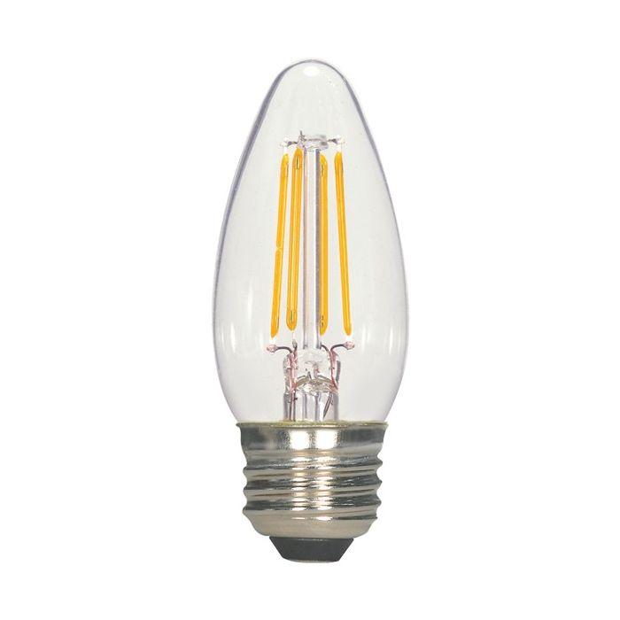Satco Lighting S9569 4.5 Watt C11 Omni-directional LED Filament Light Bulb Clear Finish E26 Medium Base Dimmable 2700k