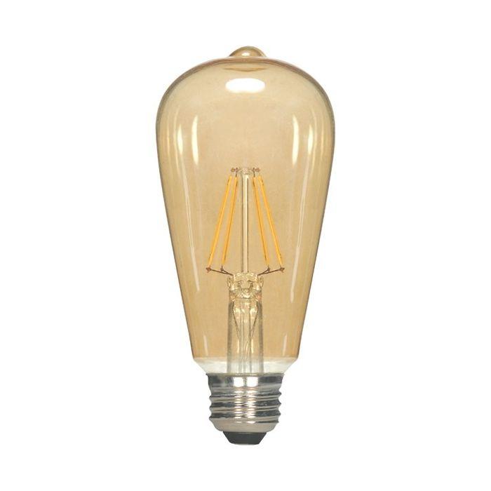 Satco Lighting S9578 4.5 Watt ST19 Omni-directional LED Filament Light Bulb Transparent Amber Finish E26 Medium Base Dimmable 2300k