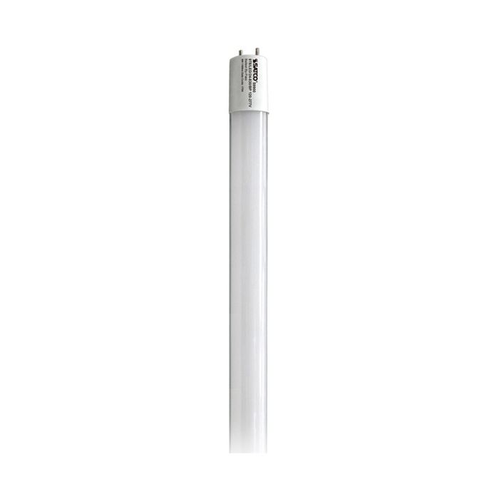 SATCO S9900 9T8/LED/24-830/BP 120-277V DLC Qualified 9 Watt 2 Foot T8 LED Linear Tube Lamp Medium Bi-Pin Base, Glass Tube, 120-277V Direct Wire, 3000K