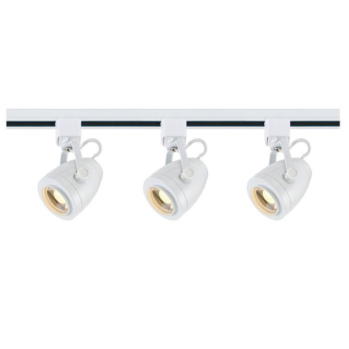 Satco Lighting TK413 12 Watt LED 3 Heads Pinch Back Track Lighting Kit 36 Degree White Finish Dimmable 3000K