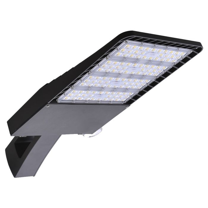 LSI Industries SMA-LED-28L-ACR-3-UNV-DIM-50-BRZ-PM DLC Premium Listed Medium LED Commercial Area Light Fixture Dimmable with Square Pole Mount Arm