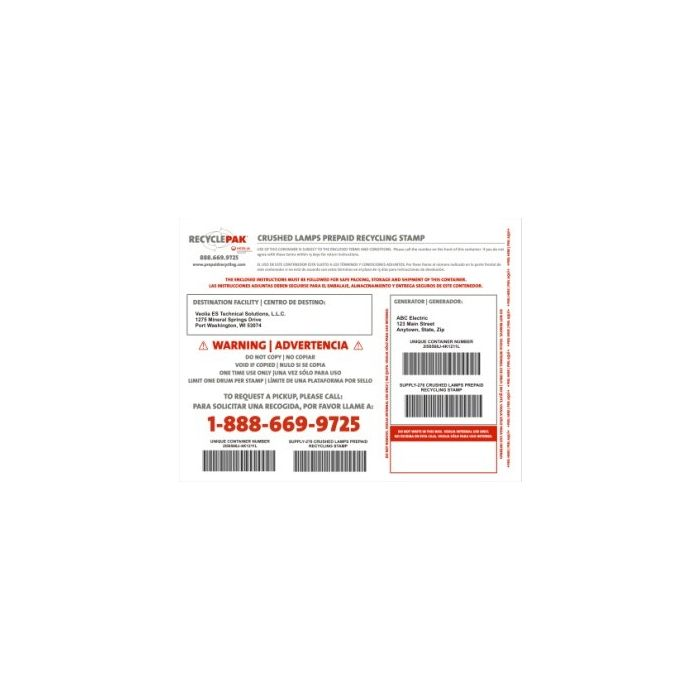 Veolia SUPPLY-276 RecyclePak Crushed Lamps Prepaid Recycling Stamp Product
