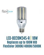 Light Efficient Design LED-8039M345-A 18 Watt Flex Color Bollard Retrofit Corn Lamp Mogul Base
