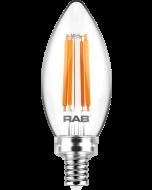 RAB Lighting B11-5-E12-927-F 5-Watt B11 Premium Filament Decorative Lamp 60W Incandescent Equivalent