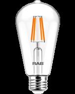 RAB Lighting ST19-3-E26-927-F-C Energy Star Rated 4 Watt LED ST19 Filament Lamp Dimmable 2700K