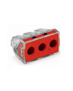 WAGO 773-173/VE00-2500 WALL-NUTS 3 Conductor 10 AWG Push-Wire Red Cover Connector for Junction Boxes - 100 PCS