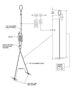"""15 ft 180"""" High Bay Lighting Fixture Loop & Paddle Aircraft Cable Hanging Kit"""