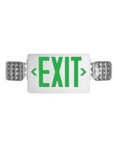 Howard Lighting HL03143GWRC LED Exit Emergency Frog Eyes Combo Unit Green Letters Remote Capable