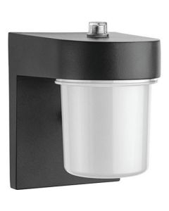 Lithonia Lighting OSC LED 120 PE BL M4 1-Light Outdoor LED Wall Mount Sconce with Dusk to Dawn Photocell in Black, Gen 1