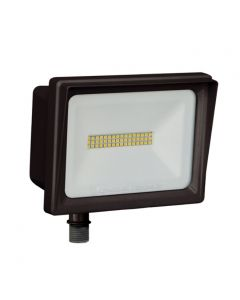 Dark Bronze Finish - Lithonia Lighting QTE LED P1 DLC Listed 24 Watt Contractor Select LED Floodlight Fixture with Threaded Knuckle Mount Replaces 150W Halogen