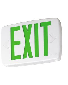Lithonia Lighting LQM S W 3 G 120/277 EL N M6 Thermoplastic LED Exit Sign With Green Letters and Nickel Cadium Battery
