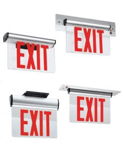 Mule Lighting PVT-1-B-R-U-BA Pivotal Battery Backed Edge-Lit single face EXIT Sign Fixture with red LED clear panel surface/Brushed Housing