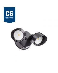 Lithonia Lighting OLF 2RH Series 2 Head Outdoor LED Round Security Flood Light Fixture with Dusk to Dawn Photocell Option