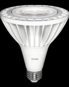 RAB Lighting PAR38-26-930 Energy Star Rated 26 Watt LED PAR38 E26 Lamp 120V 90CRI Dimmable 3000K 75W Equivalent
