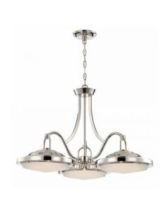 Satco Lighting 62-176 20 Watt Sawyer LED 3 Light Dining Light Fixture with Frosted Glass Polished Nickel Dimmable 3000k