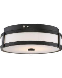 Satco Lighting 62-976 20 Watt LED Flush Mount Emergency Back-up Ready EMR Light Fixture with Aged Bronze White Acrylic Dimmable 3000k