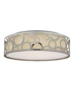Satco Lighting 62-988 16.5 Watt Decor LED Flush Drum Light Fixture Polished Nickel with White Fabric Shade Acrylic Diffuser Dimmable 3000k