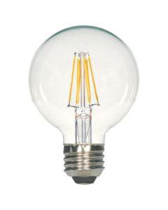 Satco Lighting S9564 6.5 Watt G25 Omni-directional LED Filament Light Bulb Clear Finish E26 Medium Base Dimmable 2700k