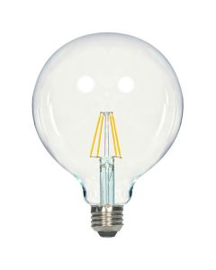 Satco Lighting S9566 6.5 Watt G40 Omni-directional LED Filament Light Bulb Clear Finish E26 Medium Base Dimmable 2700k