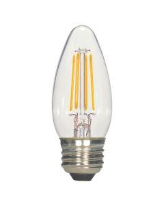 Satco Lighting S9964 5.5 Watt C11 Omni-directional LED Filament Light Bulb Clear Finish Medium Base 120V Dimmable 2700K