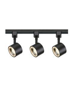 Satco Lighting TK404 12 Watt LED 3 Heads Round Track Lighting Kit 36 Degree Dimmable Black Finish 3000K