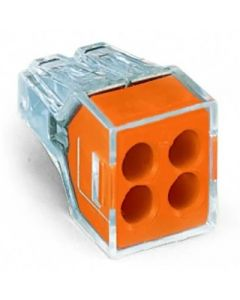 WAGO 773-104/PW25-400 WALL-NUTS 4-Conductor Push-Wire Orange Face Connector for Junction Boxes - Jar of 400 PCS
