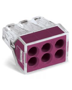 WAGO 773-106/PW25-250 WALL-NUTS 6-Conductor Push-Wire Violet Cover Connector for Junction Boxes - Jar of 250 PCS
