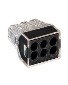WAGO 773-166 WALL-NUTS 6-Conductor Push-Wire Black Face Connector for Junction Boxes - 50 PCS per Box