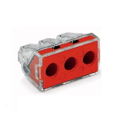 WAGO 773-173/VE00-0500 WALL-NUTS 3 Conductor 10 AWG Push-Wire Red Cover Connector for Junction Boxes - 100 PCS
